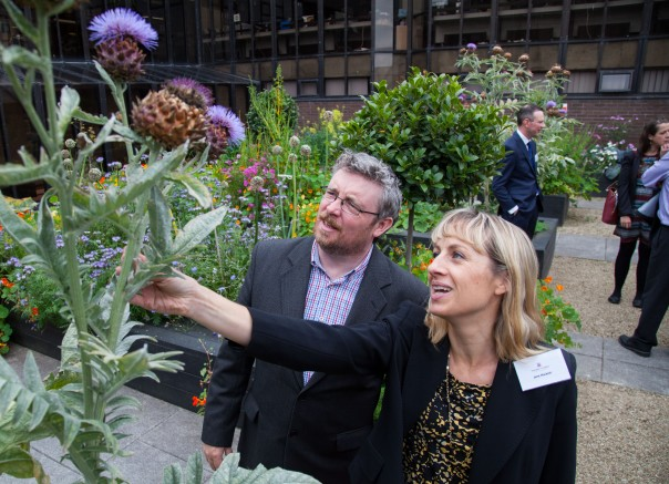 09/09/2015 University of Limerick, Green Campus Flag assessment team tour. Assessment officers Jane Hackett and Michael John O'Mahony pictured a the roof top garden. Picture: Alan Place/Fusionshooters.