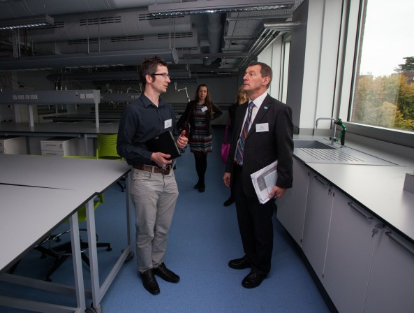 09/09/2015 University of Limerick, Green Campus Flag assessment team tour. Chris Fogarty, Building and Estates, UL pictured with assessment officer Ian Humphries in the Anaolog Devices Building. Picture: Alan Place/Fusionshooters.
