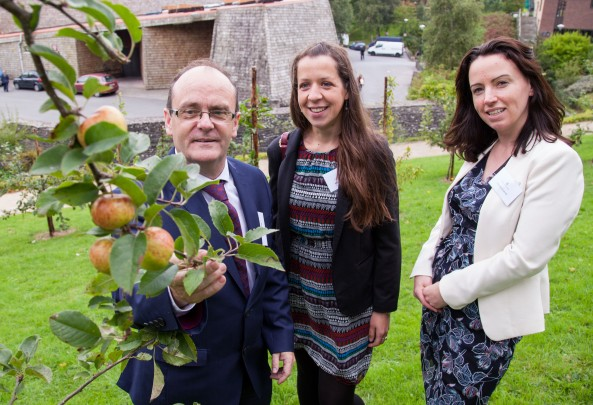 09/09/2015 University of Limerick, Green Campus Flag assessment team tour. Robert Reidy, Director Buildings and Estates pictured in the orchard with assessment officers, Meabh Boylan and Deirdre O'Carroll. Picture: Alan Place/Fusionshooters.