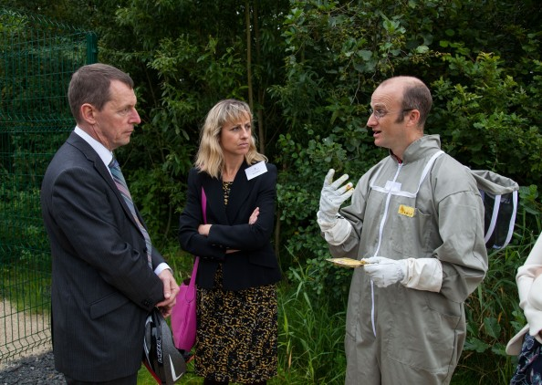 09/09/2015 University of Limerick, Green Campus Flag assessment team tour. Adam de Eyto shows the assessment team the Apiary. Picture: Alan Place/Fusionshooters.