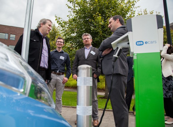 09/09/2015 University of Limerick, Green Campus Flag assessment team tour. Pictured at the new E-Car parking and charging facilities on campus were, left to right, Tom Conway, ECE Department UL, Chris Fogarty, Building and Estates UL with Michael John O'Mahony, Assessment Officer and Eric Crowe, Assessment Officer. Picture: Alan Place/Fusionshooters.