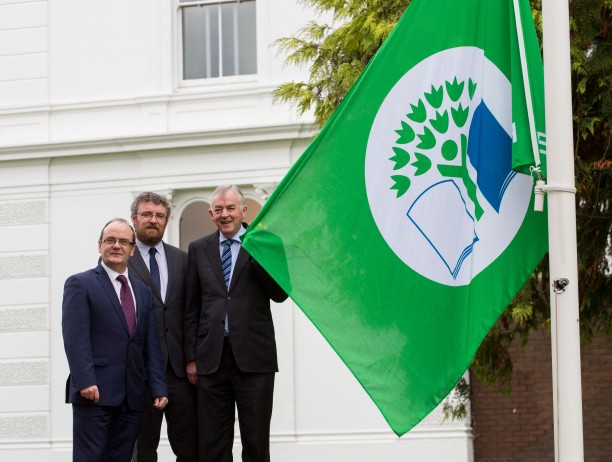 20/10/2015           The University of Limerick was today awarded the internationally recognised Green Flag by An Taisce's Green-Campus programme on behalf of the Foundation for Environmental Education. Professor Don Barry, President of UL officially raised the flag outside Plassey House in a ceremony attended by students, staff and special guests. The Green Flag will find its home permanently on the University's iconic flag poles by the main campus gate.  Significant initiatives and advances in the areas of Energy Conservation, Biodiversity and Travel and Transport have been incorporated into campus life over the past  two years with combined efforts by UL's Buildings and Estates Division and the UL Green-Campus Committee, demonstrating a long term commitment to continuous improvement.  Raising the Green Flag at Plassey House, University of Limerick were, Robert Reidy, Director Building and Estates, UL, Dr. Michael John O'Mahony, Director An Taisce Environmental Education Unit and Professor Don Barry, President, UL. Picture: Alan Place/Fusionshooters.
