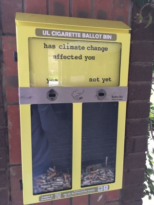 UL Cigarette Ballot Bin @ Entrance to UL Library